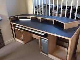 Blue Computer Desk Recording Studio Furniture Custom Built Maple Desk With Blue