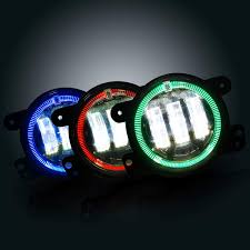 Led Fog Light White Halo Led Fog Lights For 07 17 Jeep Wrangler Jk Front Bumper