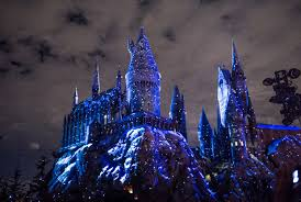universal studios lights up in the wizarding