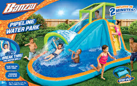banzai pipeline water park inflatable water slide with pool for
