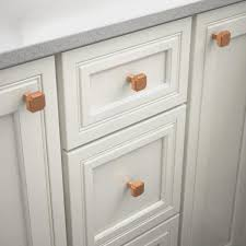 home depot kitchen cabinet handles and knobs liberty notched 1 1 8 in 28mm brushed copper square