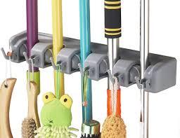 amazon com ihomeset mop and broom holder 5 position 6 hooks