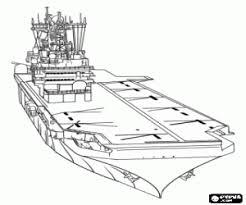 Coloriage Porteavion navire de la marine à imprimer