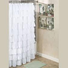 Ruffled Pink Curtains Bathroom Steve Madden Ruffle Shower Curtain For Bathroom