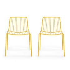 chaises jaunes pedrali lot de 2 chaises de jardin nolita 3650 dossier bas jaune