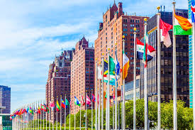 siege des nations unis siège des nations unies avec des drapeaux des membres de l onu image