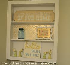 metallic gold stenciled shelf the cards we drew