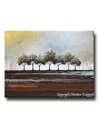custom art abstract painting trees green grey textured moder