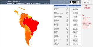 Map Of South And Central America by Central U0026 South America Heat Map In Excel Automatic Country Coloring