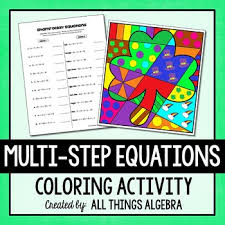 multi step equations coloring activity by all things algebra tpt