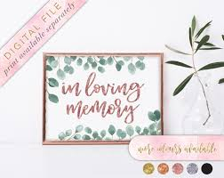 wedding memorial sign in loving memory sign printable wedding memorial sign memorial