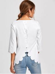 white blouses button detail scalloped edge blouse white blouses m zaful