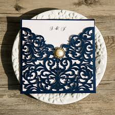 blue wedding navy blue laser cut pearl wedding invitations iwsm039 wedding
