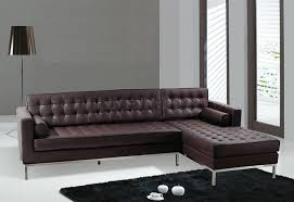 black or brown button tufted leather sectional sofa