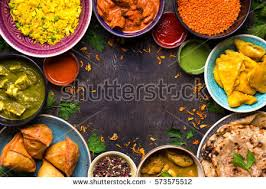 cuisine curry assorted indian food on wooden stock photo 573575497