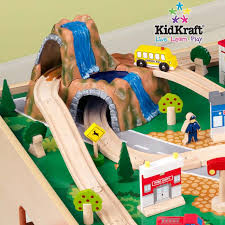 kidkraft train table set waterfall mountain train set and table 17850