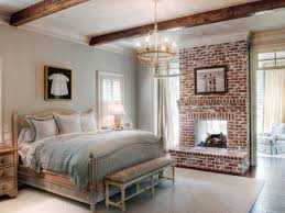 nice westren bedroom with terrific red brick fireplace and elegant