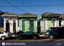 typical shotgun homes fauborg marigny district new orleans stock