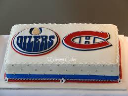 edmonton oilers and montreal canadiens hockey logo wedding cake