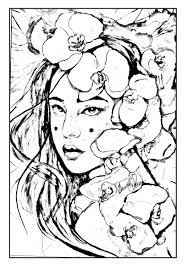 free coloring page coloring geisha japan to print a pure and