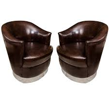 Leather Swivel Club Chairs Brown Leather Barrel Chairs Shaped Guest Swivel Leather Barrel