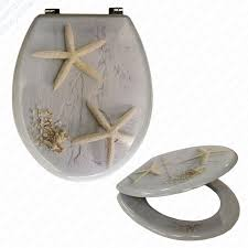 themed toilet seats mdf starfish print novelty toilet seat with chrome metal bottom