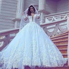 discount arabic lace wedding dresses plunging neckline
