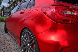 red chrome bentley mercedes benz a45 amg in satin red chrome wrap by folien experte 9