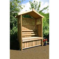 arbour with storage box and trellis parcel in the attic