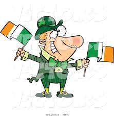 vector of a happy cartoon leprechaun man waving two irish flags by