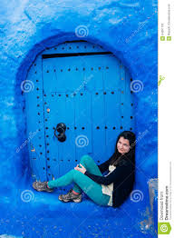The Blue City Morocco by Tourist Enjoying The Blue City Of Morocco Stock Photo Image