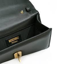 moschino skeleton hand leather shoulder bag black