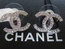 cc earrings cc chanel earrings brand new silver chanel large cc logo