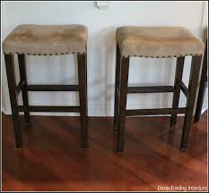 furniture nailhead brown backless bar stools