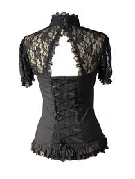 black short lace sleeves corset style womens gothic tops