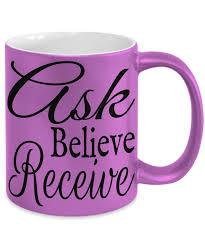 inspirational mugs ask believe receive pink metallic ceramic