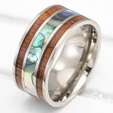 10mm ring titanium ring with mid abalone shell hawaiian koa wood inlay