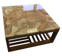rust marble u0026 walnut coffee table contemporary mid century