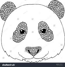 panda illustration doodle ornaments stock vector