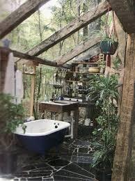 outdoor bathroom vanity white wooden buit in hidden door bedroom