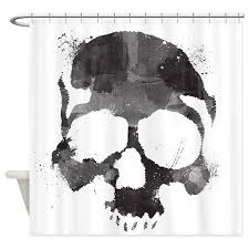 Skull Bathroom Accessories by Watercolor Skull Shower Curtain By Joesjunction