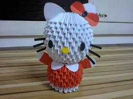 cara membuat origami hello kitty 3d warna warni 3d origami hello kitty tutorial
