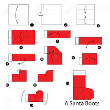 How To Make A Origami Santa - step by step how to make origami santa boots royalty