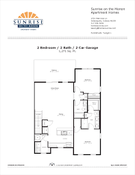 2 Car Garage With Apartment Twilight 1 2 Bedroom Floor Plan Sunrise On The Monon Apartment Homes