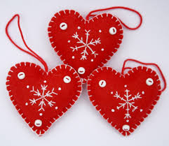 felt christmas heart ornaments handmade red and white snowflake