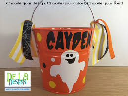 personalized halloween buckets personalized halloween trick or treat metal bucket 2 quart