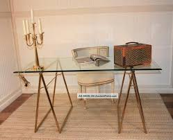 Regency Office Furniture by Mid Century Modern Brass Plated Glass Top Sawhorse Desk Table