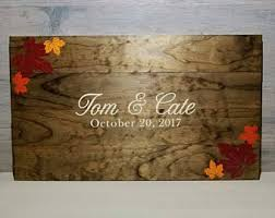 fall wedding guest book wedding guest book rustic wooden guest book personalized
