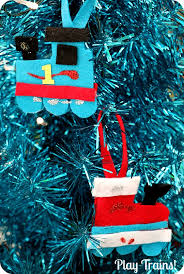 kid made felt train ornament play trains