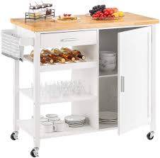 kitchen storage cupboard on wheels kealive kitchen island on wheels rolling kitchen island with storage wooden mobile island for home style wood top drawer handle rack brown 41 3l x
